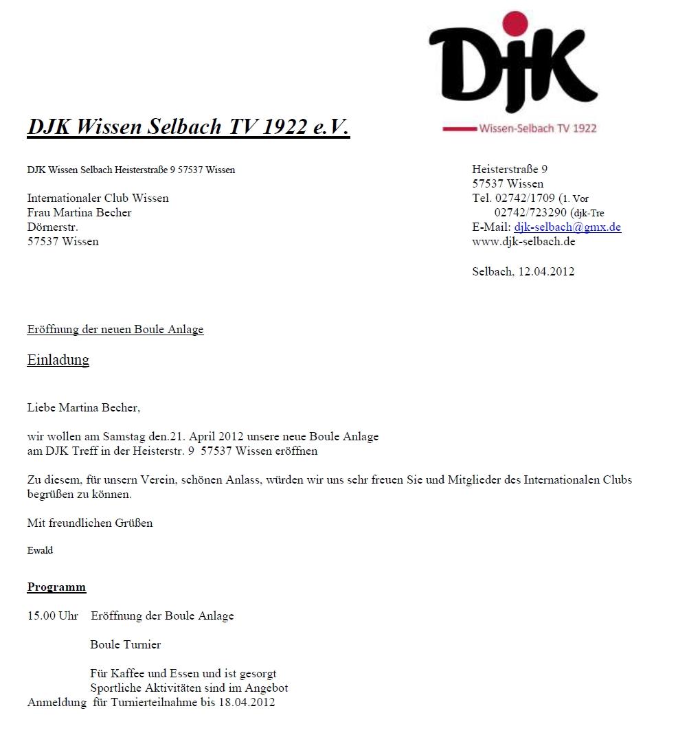 21.04.2012 Einladung zur Eröffnung Boule-Anlage